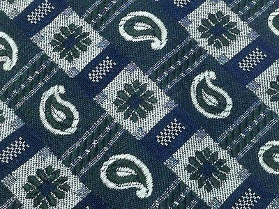 Designer Tie Rykiel Homme Dark Green Flowers on Blue Silk Men NeckTie 49