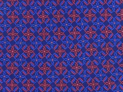 Geometric TIE Red Snowflake Like on Blue Silk Necktie 5