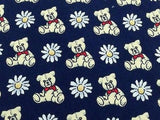 Laco Teddy Bear Floral on Blue Silk Men Necktie 28