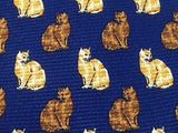 Animal Tie White And Brown Cats On Dark Blue Silk Men Necktie 43