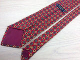 Designer Tie Balenciaga Flower Pattern On Bright Red Silk Men Necktie 43