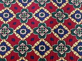 NINA RICCI Paris Handmade Silk Tie - Dark Red with Green, Blue & Gold Pattern 34