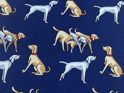 BIJOU-BRIGITTE Italian Silk Tie - Navy with Silver & Tan Dog Pattern 27