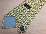 BEAUFORT Silk Tie - Pale Yellow with Teddy Bear on Safari Design Pattern 36