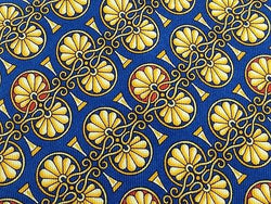 LANCEL Paris Silk Tie - Hand Made -  Royal Blue w Intricate Gold Pattern 41