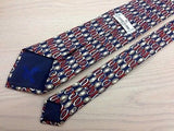 Designer Tie Cerrutti 1881 Oval Design on Red-Blue Stripes Silk Men Necktie 47