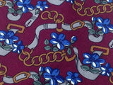 PIERRE BALMAIN Paris Silk Tie - Maroon with Gold & Blue Floral Chain Pattern 35