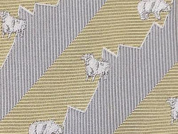 Bull Embroided TIE Stripe Animal Novelty Theme Repeat Silk Necktie 3