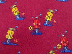 PALAIS DE DOGES Paris Silk Tie - Red with Whimsical Motorcycle Pattern 37