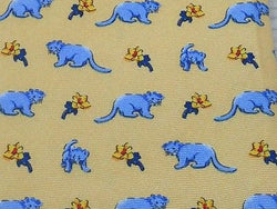 VIVALDI Italian Silk Tie - Pale Yellow with Light Blue Lion Cub Pattern 40