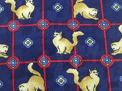 VAN LINNEN Silk Tie - Navy with Playful Felines Pattern 38