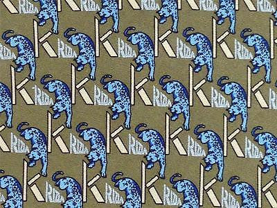 Krizia TIE Blue Panther Animal Theme Novelty Repeat Silk Necktie 4