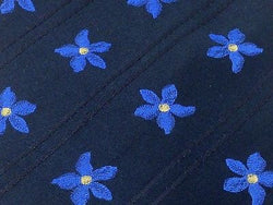 Novelty Tie David Moss Blue Flowers On Black Silk Men Necktie 42