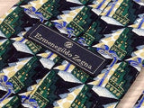 ERMENEGILDO ZEGNA Italian Silk Tie - Black with Green & Gold Pattern  34