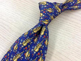 "61"" Music Violon TIE CELLO MUSIC Flower on Blue Theme Repeat Silk Necktie 4"