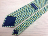 Designer Tie Gierre Square & Flower Pattern on Light Green Silk Men NeckTie 30