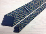 Designer Tie Pierre Cardin Chain Pattern on Blue Silk Men NeckTie 44