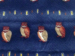 Animal Tie Maxmillian Owls On Dark Blue Silk Men Necktie 29