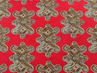 Designer Tie Gian Franco Ferre Brown Design on Candy Red Silk Men Necktie 47