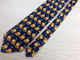 REINE SEIDE Silk Tie - Navy with Gold Travelling Hippo Design 27