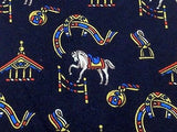 Animal Tie Pierre Cardin Horse on Blue Silk Men NeckTie 46