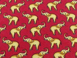 Animal Tie The Custom Shop Perpetual Yellow Elephant on Red Silk Men Necktie 45