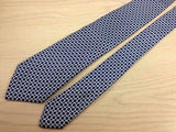 Designer Tie Dunhill Circles on Blue Silk Men NeckTie 30