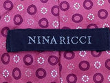 Geometric Animal TIE NINA RICCI Dove Bird on Fushia  Silk Men Necktie 22