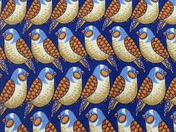 LANCEL Paris Silk Tie - Blue Bird with Gold & Copper Pattern 27