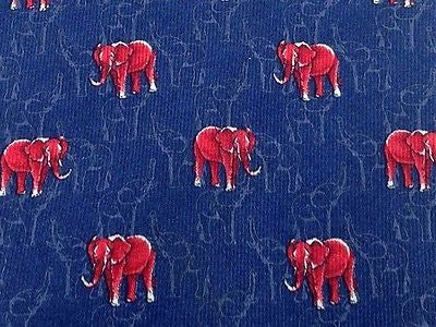 Animal Tie Longobardi Red Elephants On Dark Blue Silk Men Necktie 29