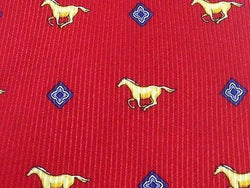 Animal Tie Testa Horse & Flower on Dark Pink Silk Men NeckTie 49