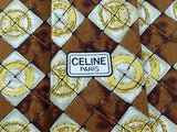 Designer Tie Celine Logo on Dark Brown Silk Men NeckTie 30