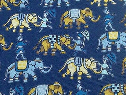 Animal Tie Jim Thompson Royal Elephant and Knight on Blue Silk Men Necktie 47