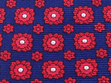 YVES SAINT LAURENT Silk Tie - Blue with Red and White Pattern 33