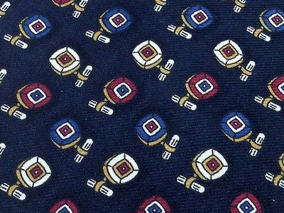Designer Tie Brooks Brothers Square Pattern On Black Silk Men Necktie 42
