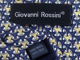 Giovanni Rossini TIE Structure on Blue Repeat Silk Necktie 19