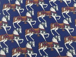 RIAN RUCCI Italian Silk Tie - Nacy with Tan & Brown Prancing Horses Pattern 38