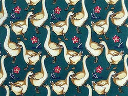 Goose TIE Bird Duck on Green Floral Animal Theme Novelty Repeat Silk Necktie 4