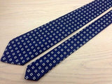 Designer Tie Polo By Ralph lauren White Boxes  on Blue Silk Men NeckTie 49