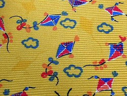 Novelty Tie Wind Kite Floral on Yellow Silk Men Necktie 50
