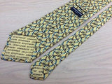 Animal Tie Jean Louis Sherrer Duck Bird Pattern Light Yellow Silk Men Necktie 28