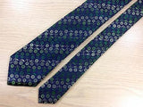 NARROW Hubert Milano TIE Green Floral on Blue Shiny Repeat Silk Necktie 3