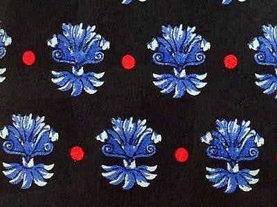 Floral TIE Blue Flower on Black Necktie 7