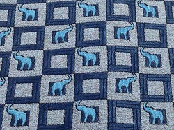 Animal Tie Rafi Ruben Blue Elephants On Check Blue Silk Men Necktie 29