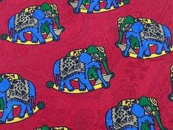 Animal Tie Giancarlo Fossati Multi Color Elephants On  Red Silk Men Necktie 29