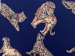 Animal Print TIE  Big Lion on Navy Blue  Silk Men Necktie 10
