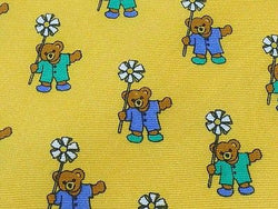 FELICIANI Silk Tie - Bright Yellow with Teddy Bear Daisy Pattern 36