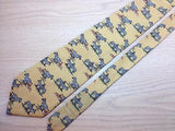 Animal Print TIE Zebra on Yellow Silk Men Necktie 24