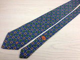 Designer Tie Dunhill Plants Pattern On Blue Silk Men Necktie 42