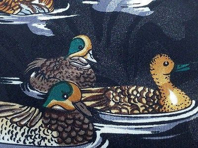 Animal Tie Fratello Ducks On Black Men Polyester Necktie 31